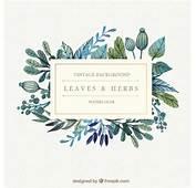 フリー素材  水彩絵具で描いた植物イラストが背景