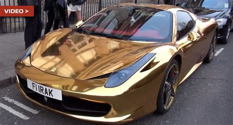 chrome gold ferrari ferrari cars news gold chrome wrapped 458 italia spyder