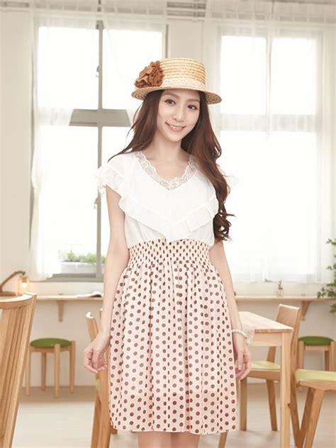 Dress Pinguin Polka Dress Korea korean style empire waist polka dot dress