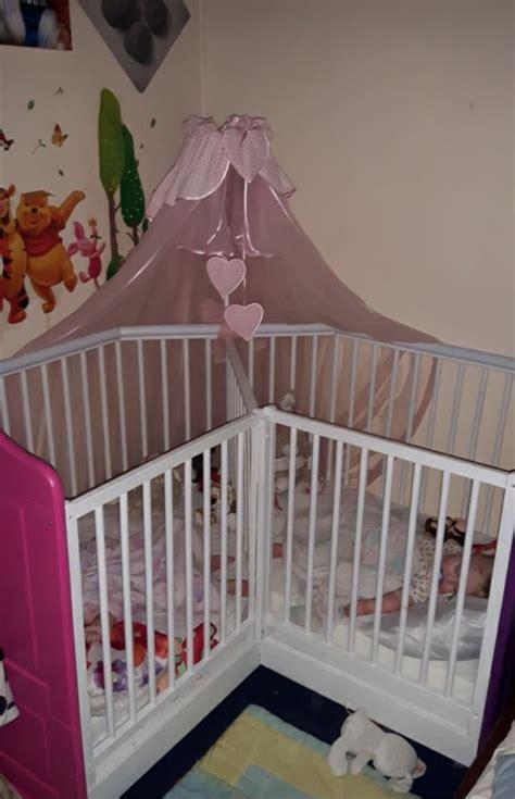 neat unique crib set   twins  babies close