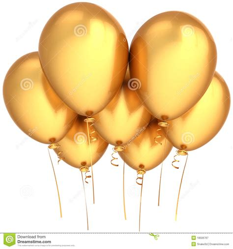 party balloons golden stock illustration image