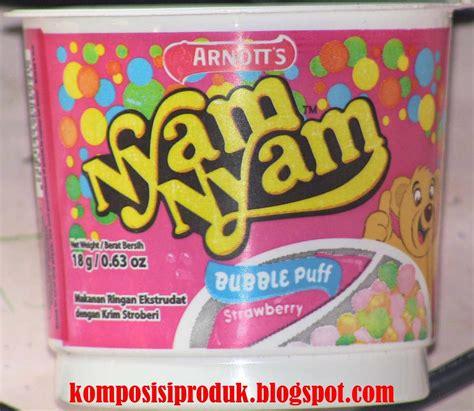 nyam nyam bubble puff  gram komposisi produk
