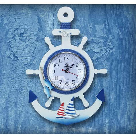 beach themed wall clocks nautical decorative silent wood