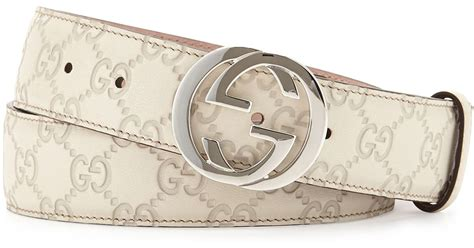 Gucci Leather G White gucci interlocking g buckle leather belt in white lyst