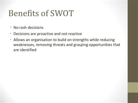 Benefits Of A Marketing Mba by 20 Swot Analysis