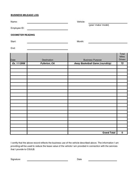 irs mileage log template best photos of irs mileage log irs mileage log form