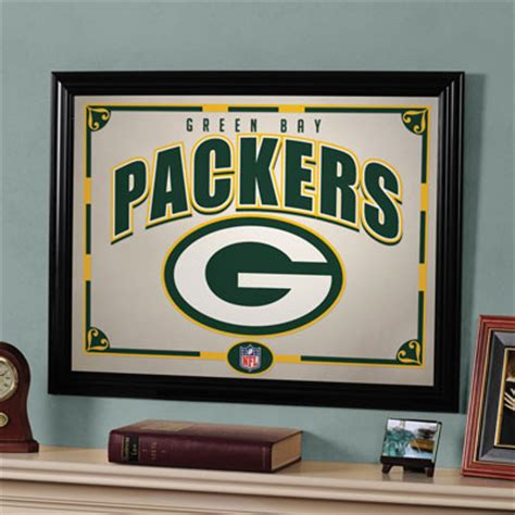 green bay packers home decor green bay packers nfl framed glass mirror