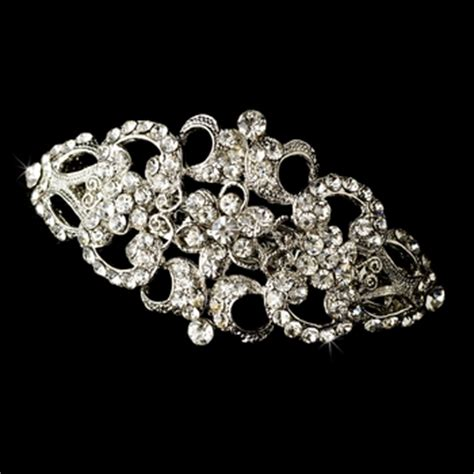 Vintage Bridal Hair Barrette by Vintage Rhodium Silver Rhinestone Bridal Hair Barrette 2030
