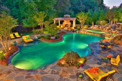 Images Of Backyards With Pools Patio Archaiccomely Awesome Backyard Pools Large And