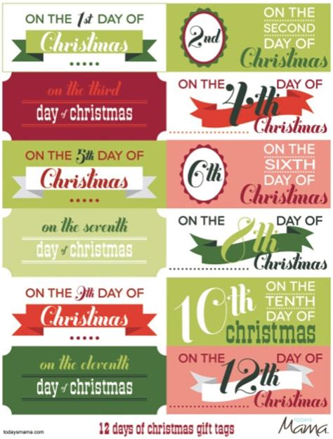 printable 12 days of christmas tags todaysmama
