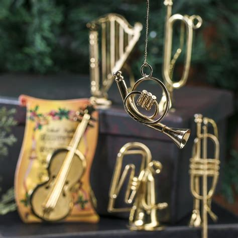 small gold musical instrument ornaments christmas