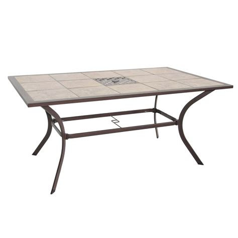 Patio Dining Tables Only Shop Garden Treasures Eastmoreland Tile Top Textured Brown Rectangle Patio Dining Table At Lowes