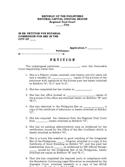 Sle Petition Notarial Commission Philippines Petition For Notarial Commission Template