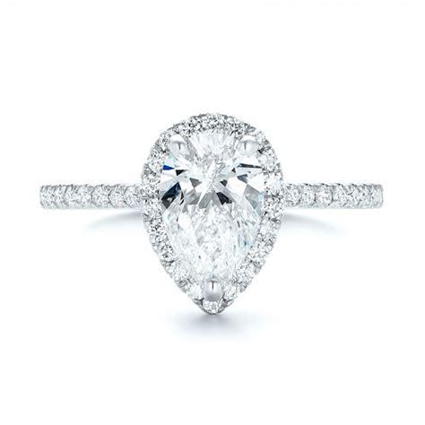 Custom Pear Shaped Diamond and Halo Engagement Ring #102743