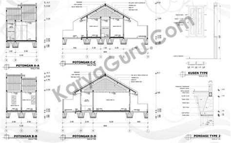 tutorial gambar potongan tutorial autocad gambar kerja rumah tinggal karyaguru center