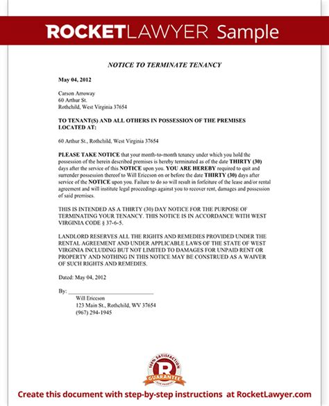 Hud Award Letter West Virginia Eviction Notice Form West Virginia Eviction Notice Sle