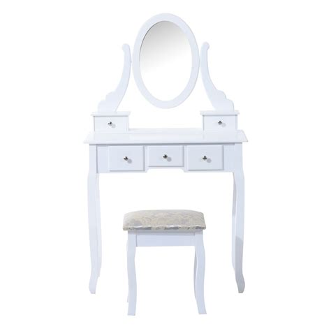 White Vanity Table With Drawers Vanity Table Set W 5 Drawers White Aosom Ca