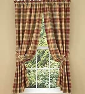 Country Cabin Curtains Saffron Collection Lined Window Curtain Panel 63 Quot Country Green Brown