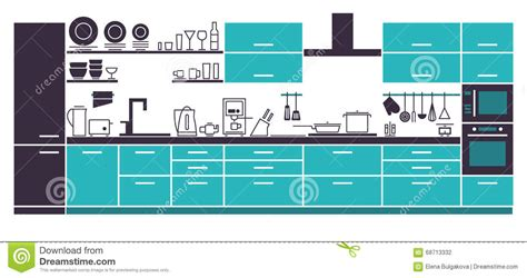 are interior layout time modern kitchen interior layout stock vector image 68713332