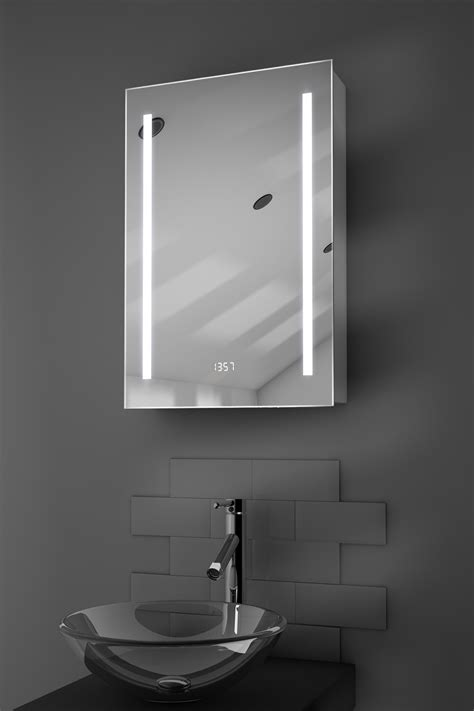 Bathroom Cabinet Led by Calais Clock Led Bathroom Cabinet With Demister Pad