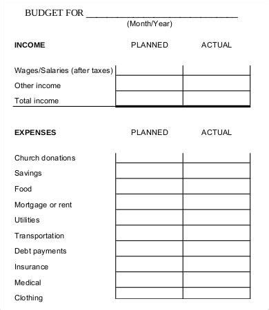 family budget worksheet templates word  excel