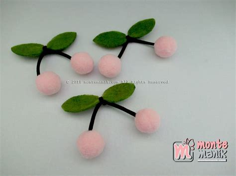 Aplikasi Cherry Pom Pom aplikasi cherry pom pom 1 5 cm all 017