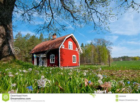 Low Country Cottage House Plans Red Wooden House In Sweden In Spring Stock Photo Image