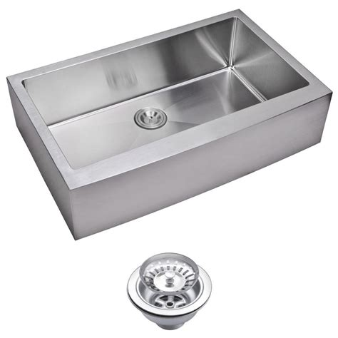 small stainless steel kitchen sinks water creation farmhouse apron front small radius stainless steel 36 in single bowl kitchen