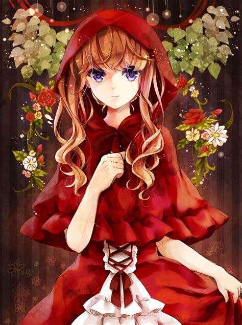 black hair with red riding hood little red riding hood anime girl anime girls