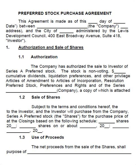 stock purchase agreement templates  google docs ms word pages