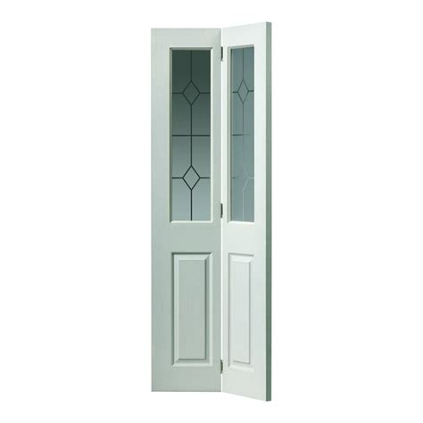 Bi Fold Doors Glass Jb White Moulded Grained Canterbury Bi Fold Door With Etched Glass At Leader Stores