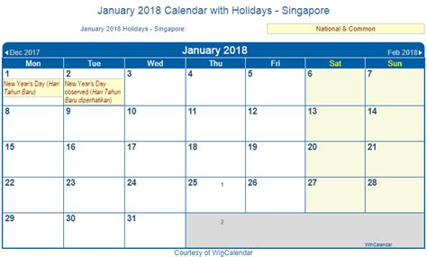 printable monthly calendar 2018 singapore print friendly january 2018 singapore calendar for printing
