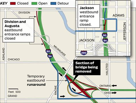 chicago expressways map map guide to weekend kennedy closures chicago tribune