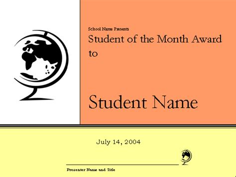student of the month certificate template student of the month award certificate elementary free