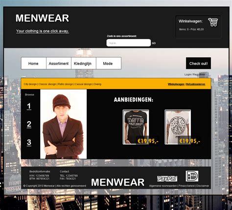 strakke stoere kleding webshop layout