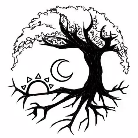 nice moon sun tree of life tattoo stencil golfian com