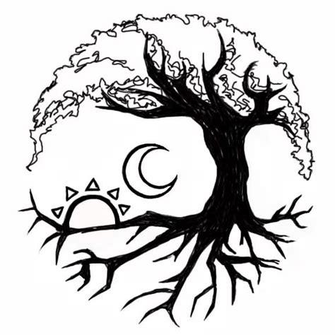 nice moon sun tree of life tattoo stencil golfian com