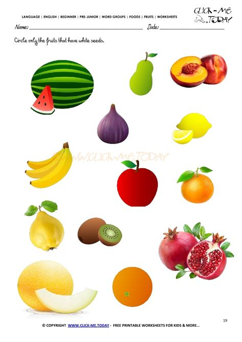fruits with seeds fruits worksheet 19 circle only the fruits that