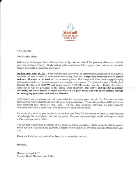 Hotel Apology Letter For Power Outage the letter about the power outage provided to guests at