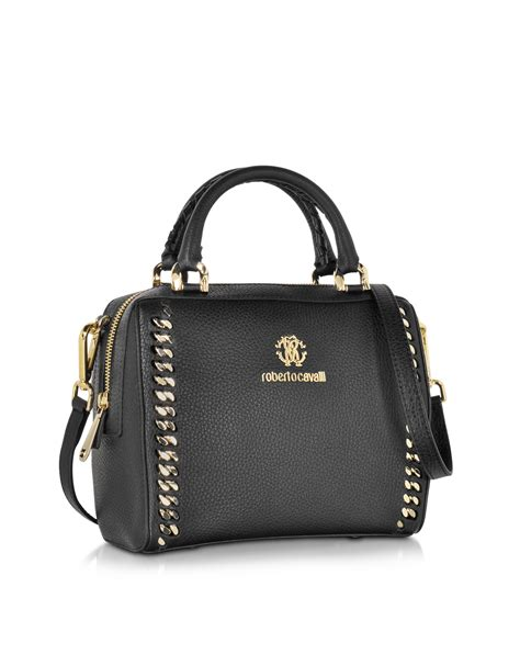 Roberto Cavalli Whipstitched Leather Purse by Roberto Cavalli Boston Mini Black Leather Handbag In Black