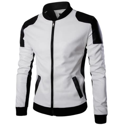 Jaket Deri white leather jacket mens perforated style
