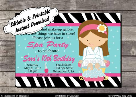 free editable printable birthday invitations spa party invitation birthday party editable printable