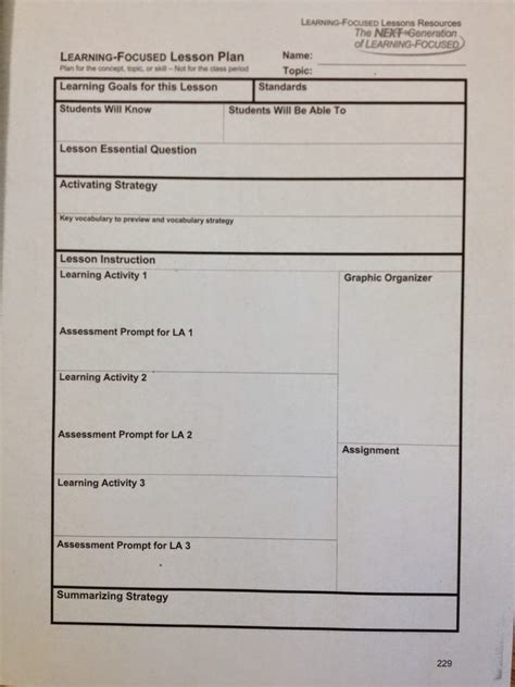 learning focused lesson plan template elipalteco
