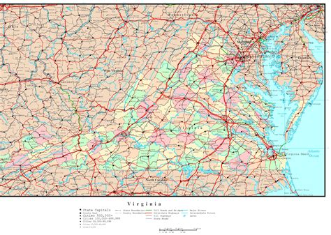 va county map virginia political map
