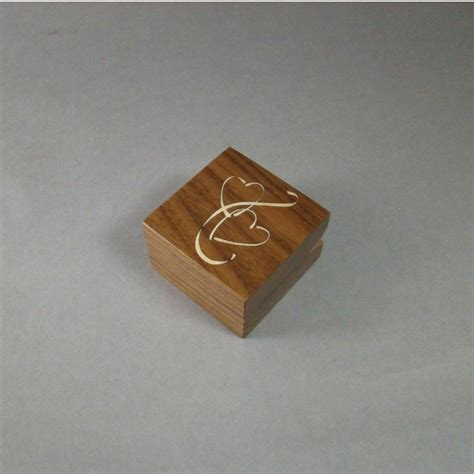 buy a handmade engagement ring box with inlaid double hearts free shipping and engraving rb19