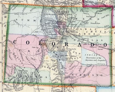 a map of colorado detailed map of colorado state 1870 colorado state