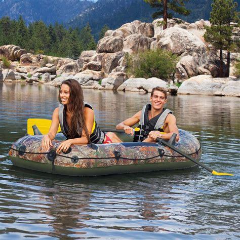intex seahawk 4 inflatable rafting fishing boat set inflatable boat intex seahawk realtree fishing boating