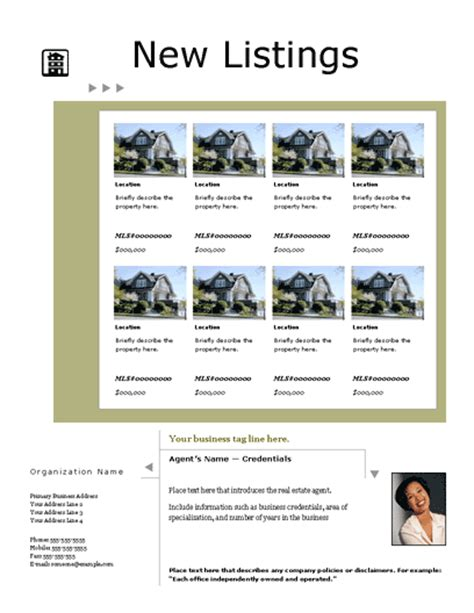 real estate listing template free flyers templates listing flyer portfolio