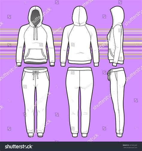 blank clothing templates front back side views womens clothing stock vector