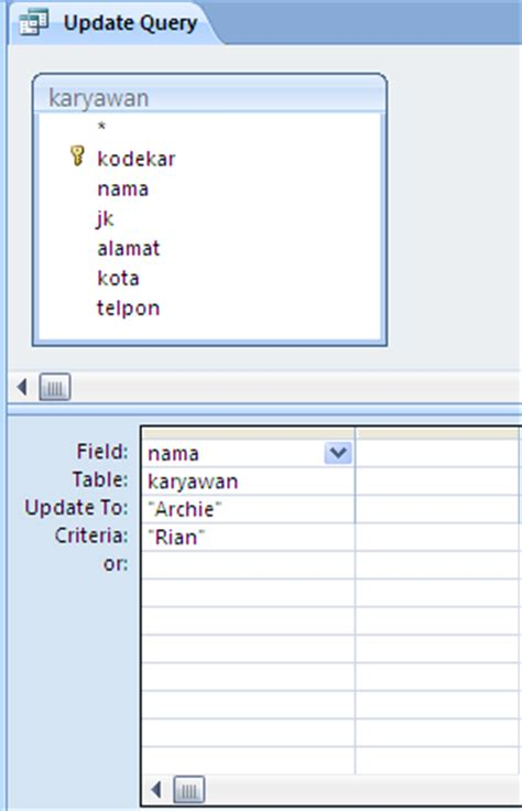 membuat query pada access 2010 membuat update query pada access 2007